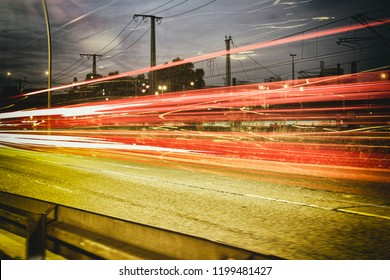 Time exposure mannheim city driving fast highway central station dark
