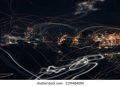 Time exposure mannheim city driving central station dark train bus street meadow river night abstract art