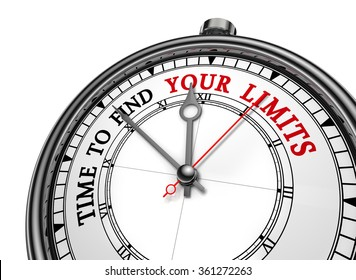 Time to find your limits motivation concept clock, isolated on white background