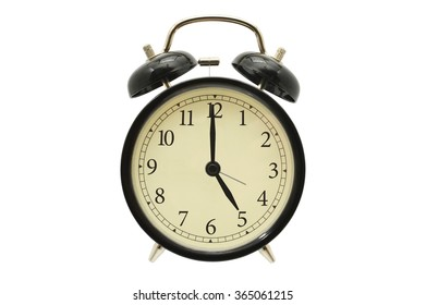Time Five o'clock Black Alarm Clock isolated on white background