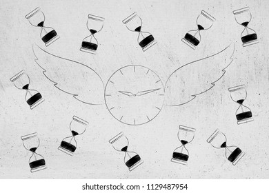 time flies conceptual illustration: clock with wings surrounded by hourglasses