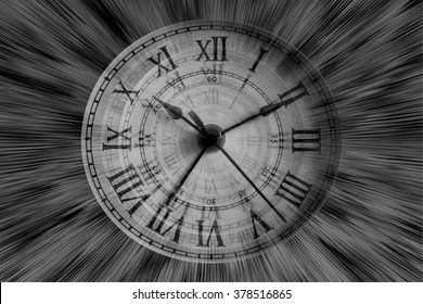Time Flies - Vintage clock on black and white light rays