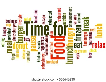 Time for Food, word cloud concept on white background.