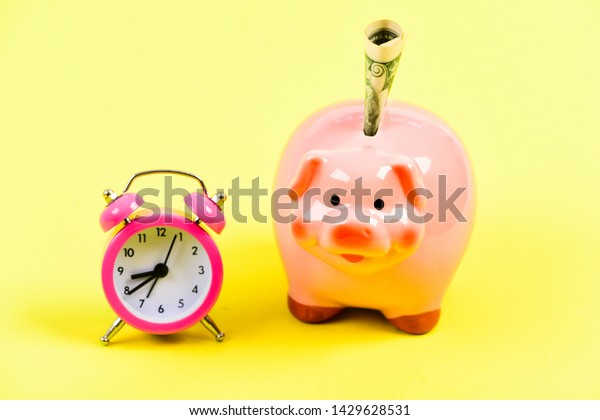 it's time to get rich. retirement. family budget. business startup. financial position. piggy bank with alarm clock. Moneybox. usa dollar. Economy and budget increase. success in finance and commerce.