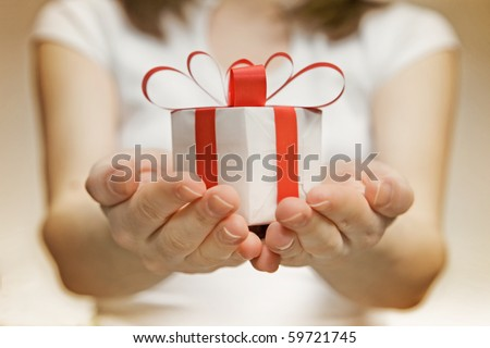 Time gifts - gift box in hand girls
