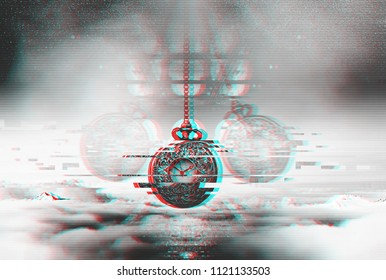 Time glitch concept. Hypnotising watch on a chain swinging above clouds.