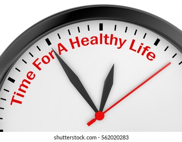 Time for healthy life motivation on concept clock 3d rendering