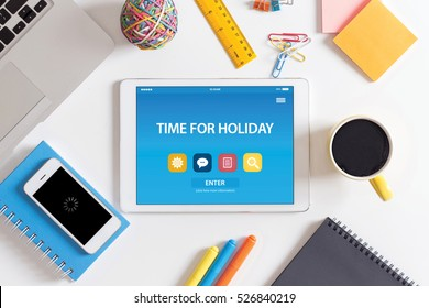 TIME FOR HOLIDAY CONCEPT ON TABLET PC SCREEN