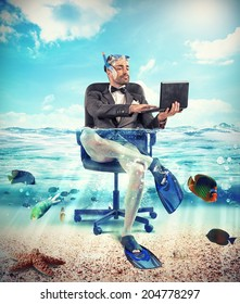Its time to holiday with underwater businessman