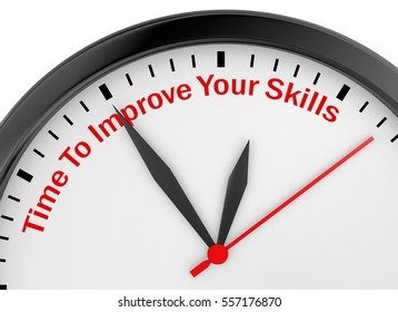 Time to improve your skills motivation message on concept clock, 3d rendering