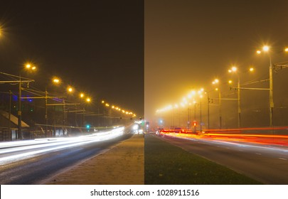 Time lapse photo of the night street. Picture combined from two photos made from one point over long time period. Left winter side and right summer side.