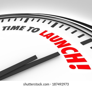Time to Launch Words Clock Start New Business Company