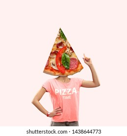 It's time for lunch or pizza on thoughts of a woman against coral background. Negative space to insert your text or ad. Modern design. Contemporary art. Creative conceptual and colorful collage.