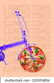 It's time for lunch. A purple bike with the wheel as a pizza with salami, tomato, cheese, mushrooms, juicy chicken fillet. Hurry up for a break. Food concept. Modern design. Contemporary art collage.