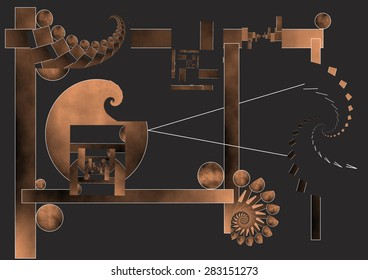 The time machine, allegory, abstract expressionist illustration of the famous machine that allows us to travel in time, spheres, spirals and fractals that evoke infinity,copper gradient colors