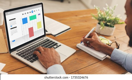 Time management concept. Collage with African American businessman using online planner to organize work agenda. Panorama