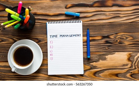 Time Management Concept With Notes On Notebook