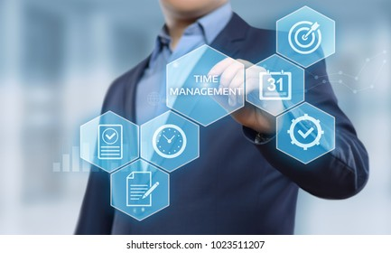 time management project efficiency strategy goals business technology internet concept.