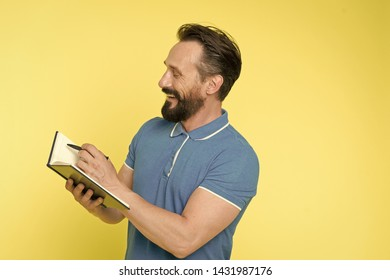 Time management skills. Man planning schedule hold notepad. Man bearded manager happy smiling face. Successful man planning schedule meeting copy space. Change your life tracking useful habits.
