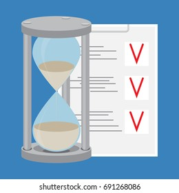 Time management. To-do list and hourglass. Time is money and  clock, management time concept and project management. flat design illustration