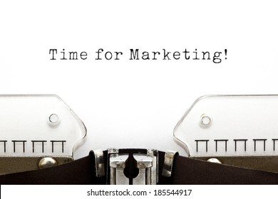 Time For Marketing printed on an old typewriter.