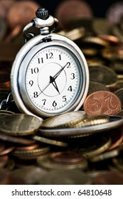Time is money concept with clock and coins