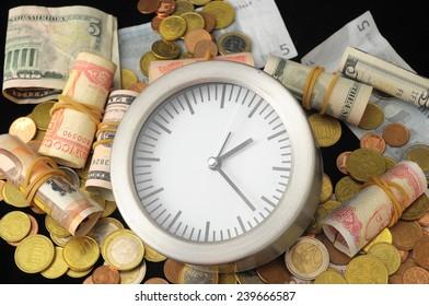 Time is Money Concept a Clock and Currency