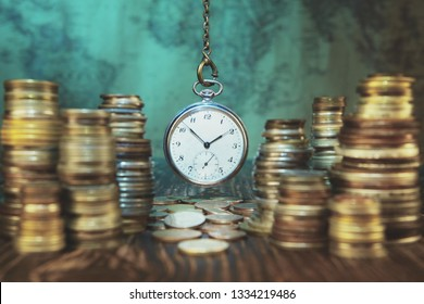 Time is money concept.Old coins and clock.Numismatics and collecting money.World currency.Silver,gold.Vintage and retro style.World map background.