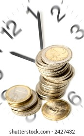 time is money concept with eur coins close up