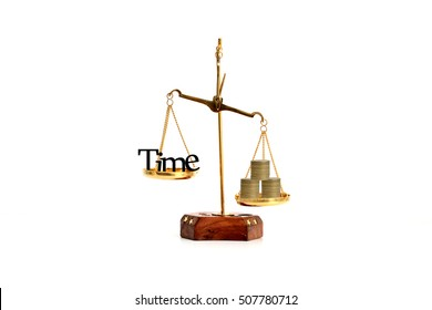 Time is money concept with time symbol and coins in a brass balance