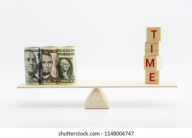 Time is money, financial investment concept : US dollar bills on a balance scale or a seesaw, decpits the opportunity cost, the value of choice in term of the best alternative while making a decision