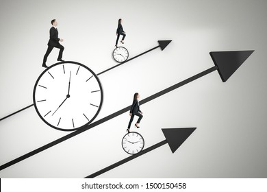 Time is money and race against time concept with business people trying to outrun time.