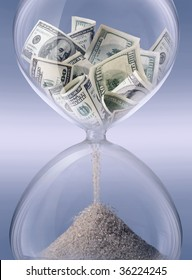 time - money. Sand-glass symbolizing business time