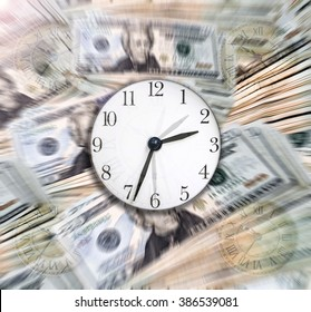 Time & Money:  A sharp clock over Money with motion blur/zoom effect in the background