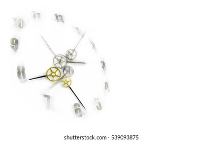Time is never waiting concept, gear shape clockwise with blurred moving number