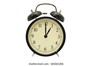 Time One o'clock Black Alarm Clock isolated on white background