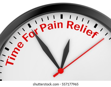 Time for pain relief motivation message on concept clock, 3d rendering
