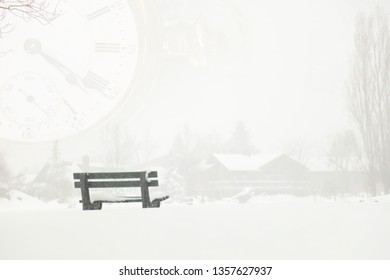 Time is passing by.  A retirement dream of a cabin in the snow and an empty park bench. A vintage time piece in a transparent layer suggests time passing by.