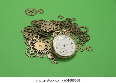 Time piece with gears/Pocket Watch/Antique metal mechanism with old clock