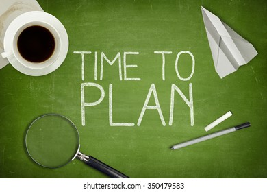 Time to plan concept on blackboard with pen