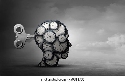 Time to plan and take action business concept as a group of clocks shaped as a human head with a winding key with 3D render elements.