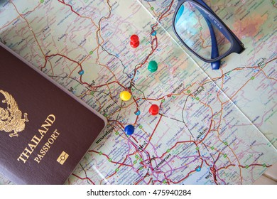 Time to plan travel Vacation,passport and camera with map background,Thailand