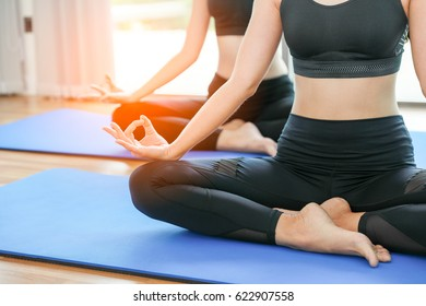 Time for practicing yoga concept, Wellness concept. Calmness and relax, happiness. Peaceful Meditation in morning sunny day for good health.in soft light