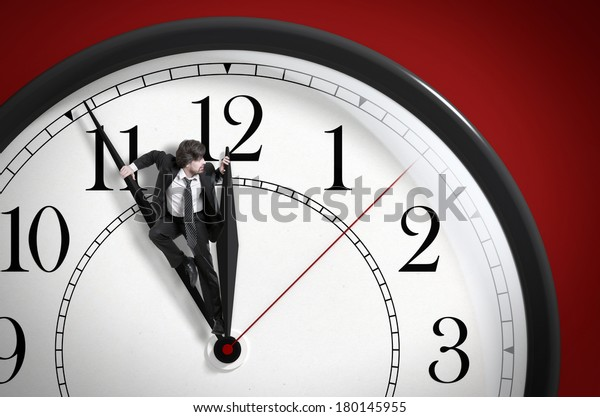 Time pressure. Deadline. Businessman trying to stop time. Time Management.