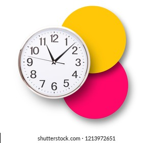 Time punctual second minute hour. Large clock on a colorful background. The concept of time.