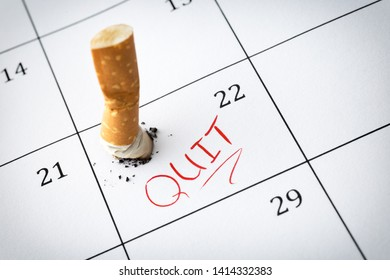 Time to quit smoking , Cigarette butts on the calendar