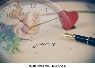 Time for Reminder Wedding day in calendar planning and fountain pen with color tone.