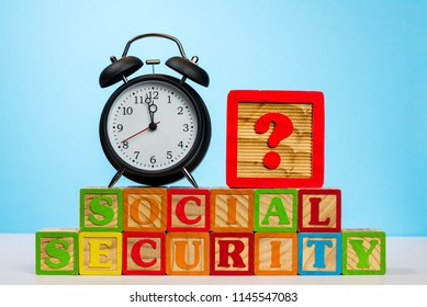 Time running out concept for Social Security trust fund with alarm clock approaching midnight