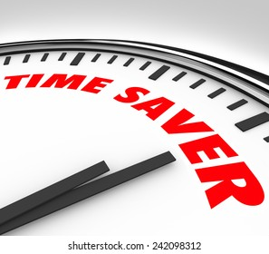 Time Saver words on a clock to illustrate advice or tips to work with more productivity and efficiency to get more done