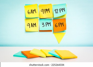 Time to schedule board on blue background. Business concept